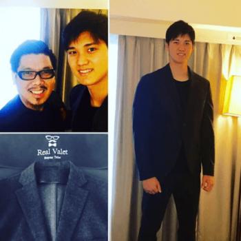 オーダーメイドのスーツを着る大谷翔平選手