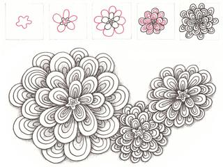 ゼンタングルの花の形のパターン1