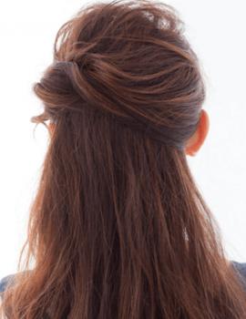 七五三ママ髪型ハーフアップ