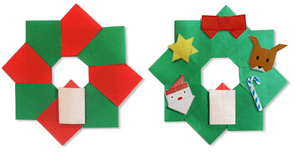 折り紙を貼った8パーツのリース