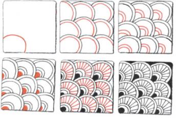 曲線を組み合わせたゼンタングルのパターン