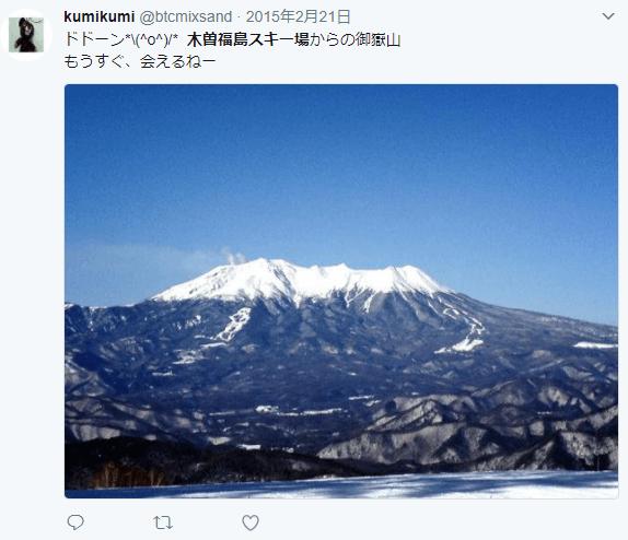 木曽福島スキー場からの御嶽山の眺め