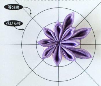 紫のちりめん細工の作り方