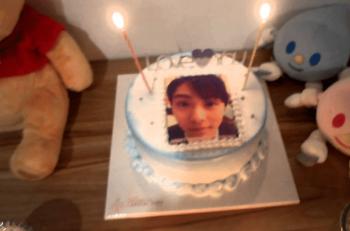 羽生結弦写真入りのケーキ