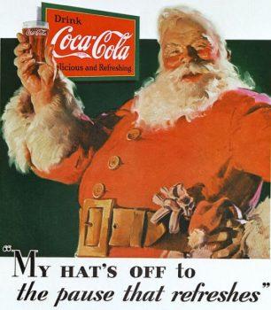 1931年にコカ・コーラの広告として描かれたサンタクロース