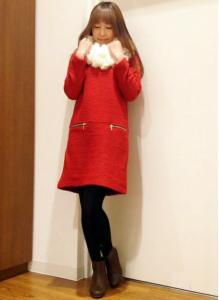 クリスマスコーディネートディナー赤ワンピ