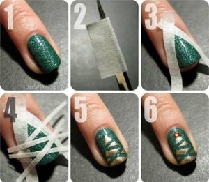 クリスマスネイルデザイン簡単模様作る方法