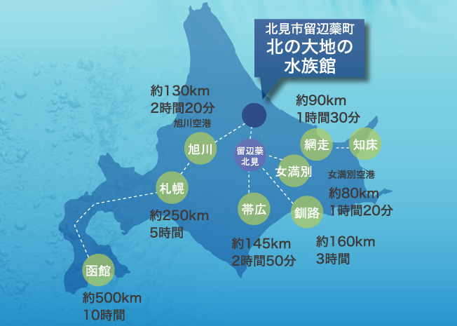 北海道おすすめ水族館留辺蘂までの距離