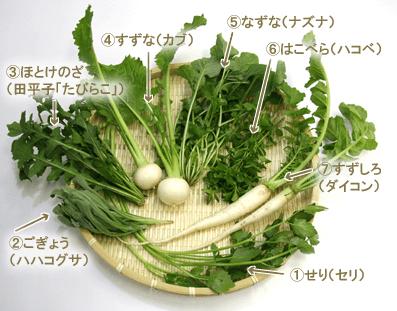 炊飯器で作る七草粥の材料 七草