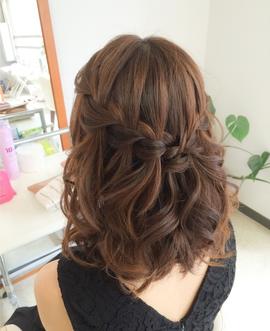 結婚式髪型ウォーターフォール