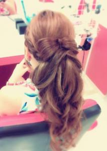 結婚式髪型ロングリボン
