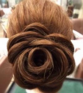 結婚式髪型ロング髪バラ