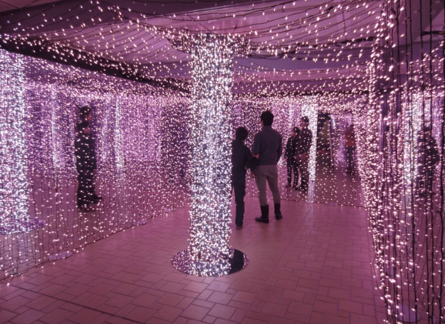長岡イルミネーション2016丘陵公園鏡のイルミネーション
