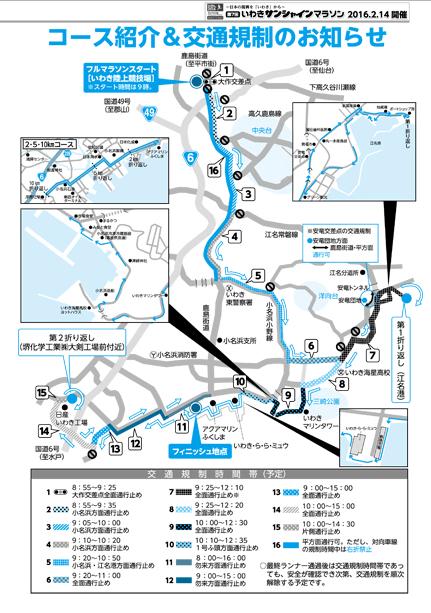 いわきサンシャインマラソン2017コース交通規制