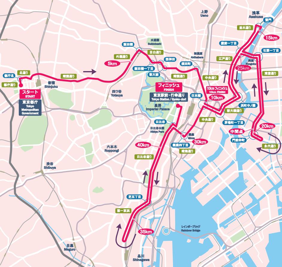 東京マラソンを2017日程コース地図