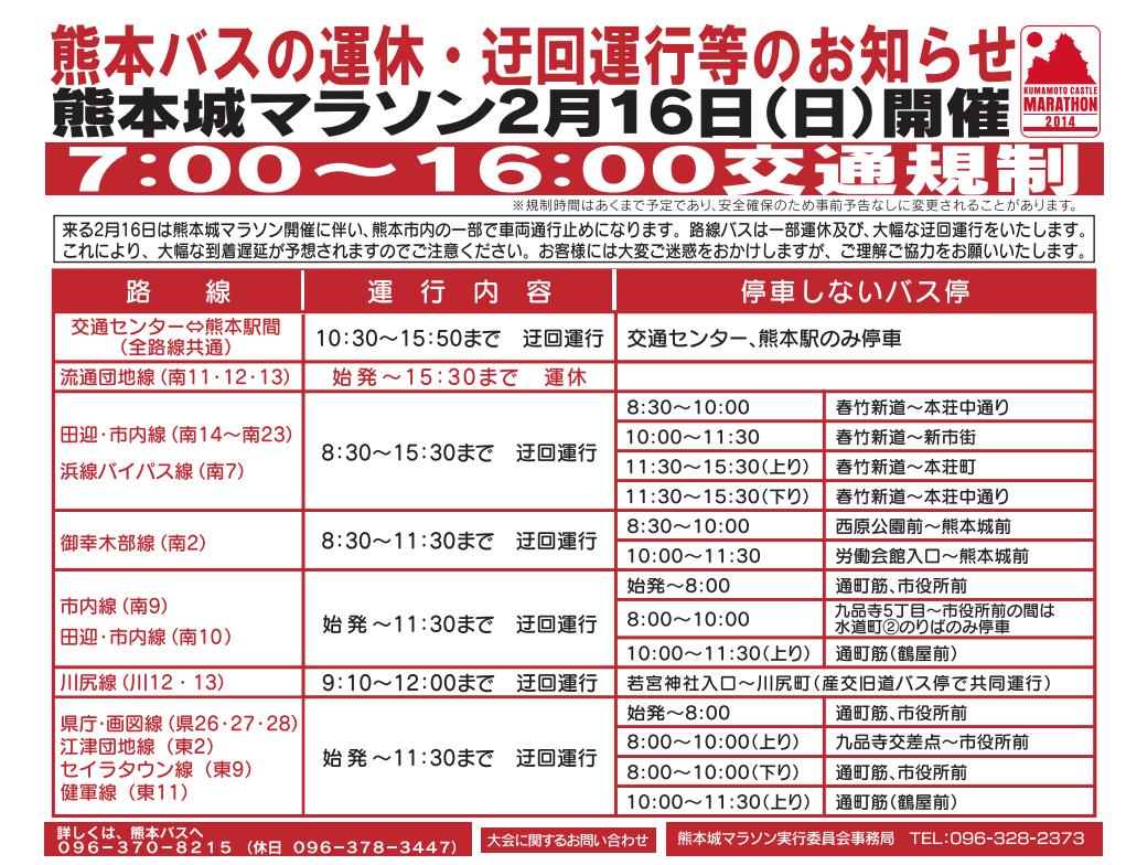 熊本城マラソン2017交通規制バス