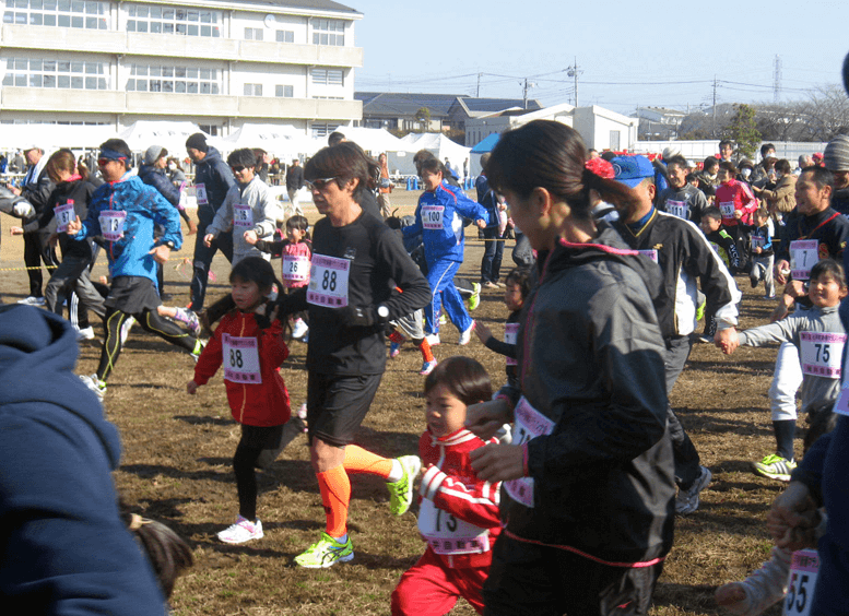 関東埼玉杉戸町新春マラソン大会親子