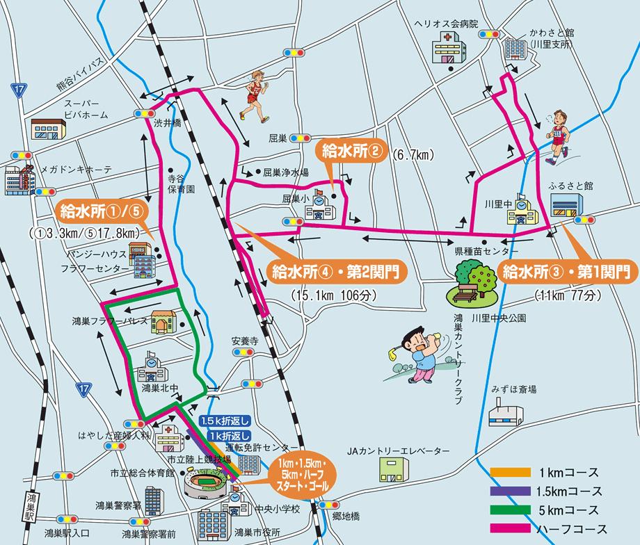 鴻巣バンジーマラソンコースマップ